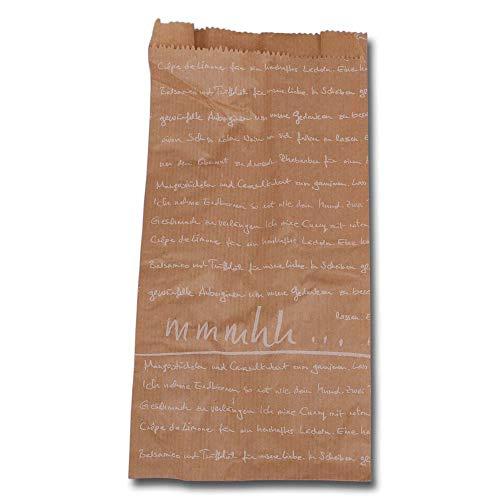 Wertpack 1000x Bäckerfaltenbeutel mmmhh, Kraftpapier, Braun/Weiß, 14 + 6 x 28 cm
