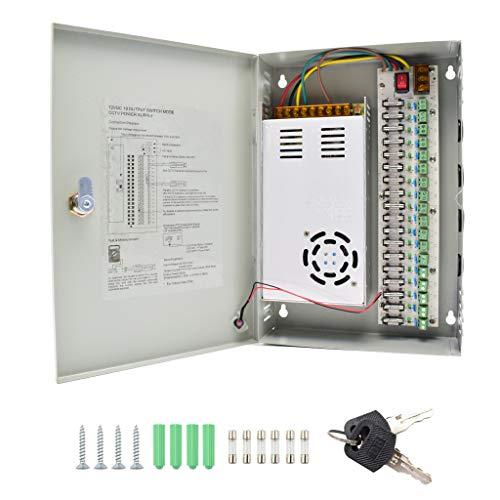 HAILI Alimentatore CCTV 18 canali Uscita 12 V 30 Amp Scatola Porta con Fusibile PTC Alimentatore distribuito per CCTV DVR Sistema di Sicurezza e telecamere