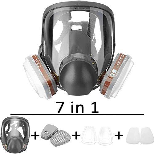 WLHER Maschera Antigas Integrale, Gas Masks - Respiratoria, Maschera Antipolvere, Facile da Respirare, Riutilizzabile, con TOcchiali e Filtri per Protezione dalla Polvere