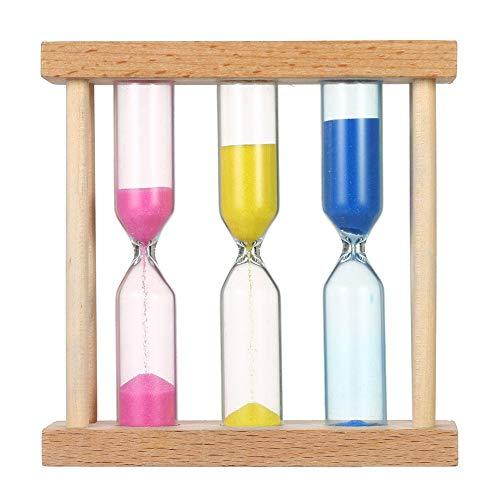 Reloj de arena 3 en 1 colorido (1 min/3 minutos/5 minutos) o niños, aula, cocina, juegos, temporizador de cepillado, temporizador de arena de oficina en casa con marco de madera