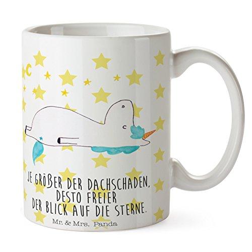Mr. & Mrs. Panda Kaffeebecher, Kaffeetasse, Tasse Einhorn Sternenhimmel mit Spruch - Farbe Weiß