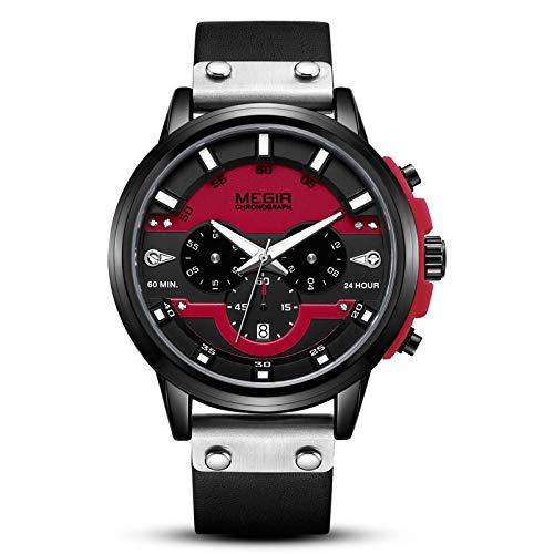 Smartwatches,Sportmode Multifunktionskalender Lederarmband Herren Quarzuhr, Rotes Gesicht Schwarzes Gehäuse
