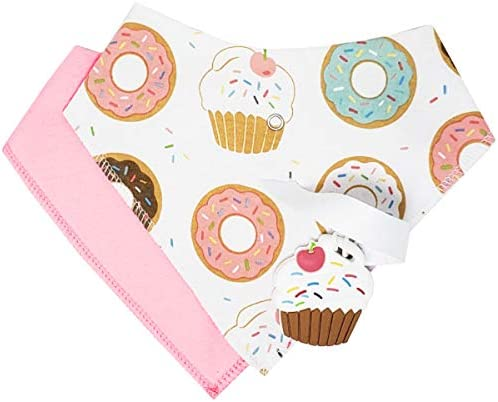 Silli Chews 4 Piece Teething Bibs for Girls Donut Absorbent Baby Bandana Drool Bibs with Teether product image