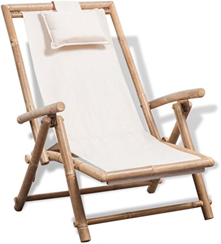 VidaXL Sonnenliege Liegestuhl Gartenliege Bambus Stuhl Relaxliege Gartengarnitur