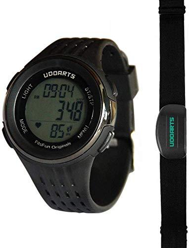 UDOARTS HRM con contapassi, cardiofrequenzimetro e fascia toracica, confezione da 5 batterie e cacciavite (nero)