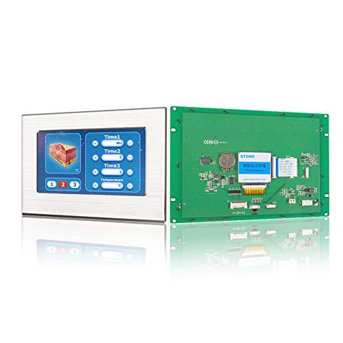 Pantalla Módulo HMI TFT LCD de 8 pulgadas con controlador táctil del programa de interfaz serie UART y marco de metal