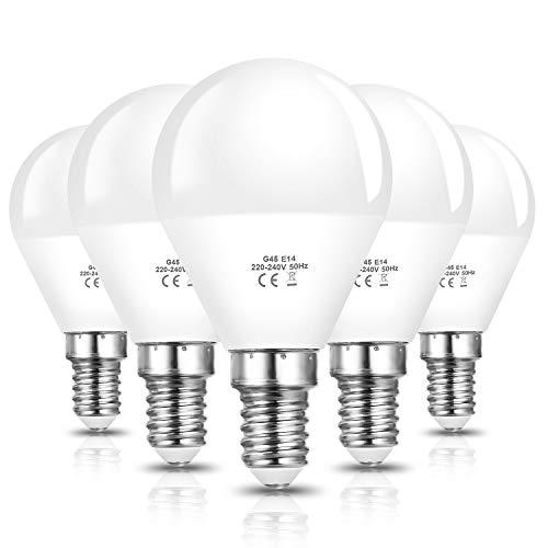 Vicloon E14 Bombilla LED G45, 6W equivalente a 40W Bombilla Incandescente, Equivalente 50W Bombilla Halógena, 600LM 6500K Blanco Frío E14 Lámpara LED, No Regulable, Angulo de haz de 270°, Pack de 5