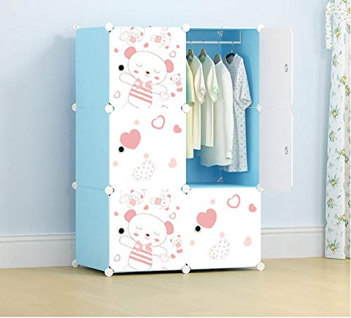 llzshoutao Portable Wardrobe Closet, Modular Storage Storage Box, Space-Saving Wardrobe, Clothes Rail, Foldable Closet, Bedroom Furniture@6 Doors 1 Hanging Blue Love
