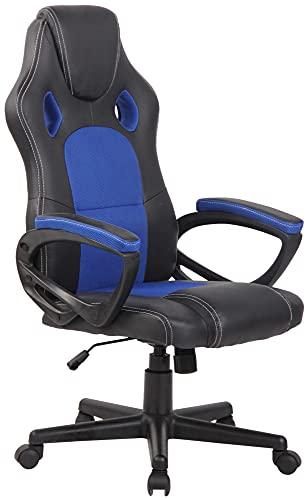 CLP Silla Racing De Oficina Fire En Simil Cuero & Base con Ruedas I Silla Gamer Regulable En Altura & Giratoria, Color:Azul
