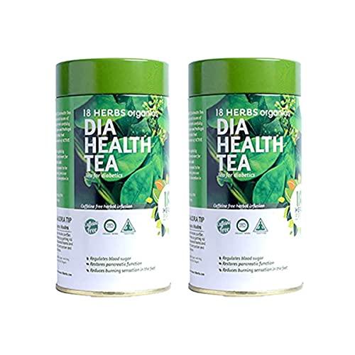 18 Herbs Organics Health With Herbs Dia Health Tea (50 Tea Bags – 54 gram – Tin Caddy – Pack of 2) Anti Diabetic Tea – Herbal Tea for Diabetes