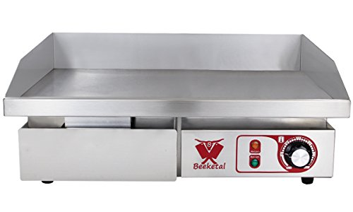 Beeketal 'BGP-a' Profi Gastro Gusseisen Grillplatte elektrisch mit 55 x 35 cm Grillfläche (glatt), stufenlos regelbar 50-300 °C (3000W), Elektrogrill mit Spritzschutz und Fett Auffangbehälter