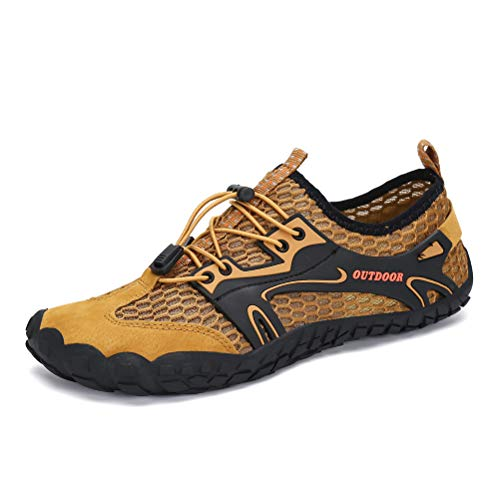 AFT AFFINEST Mens Womens Water Shoes Outdoor Hiking Sandals Aqua Quick Dry Barefoot Beach Sneakers Swim Boating Fishing Yoga Gym(Brown-A,45)