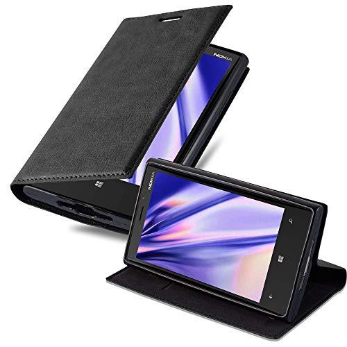 Cadorabo Hülle für Nokia Lumia 920 - Hülle in Nacht SCHWARZ – Handyhülle mit Magnetverschluss, Standfunktion und Kartenfach - Case Cover Schutzhülle Etui Tasche Book Klapp Style
