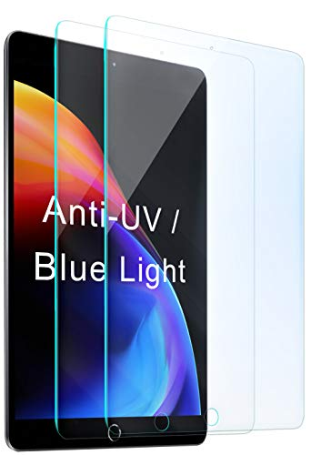 2 Packs Compatible with Apple iPad 8th / 7th Screen Protector (10.2 inch, 2020/2019 Released, 8/7 Generation), Anti Blue Light UV Tempered Glass Protection for i Pad, Scratch Resistant Film