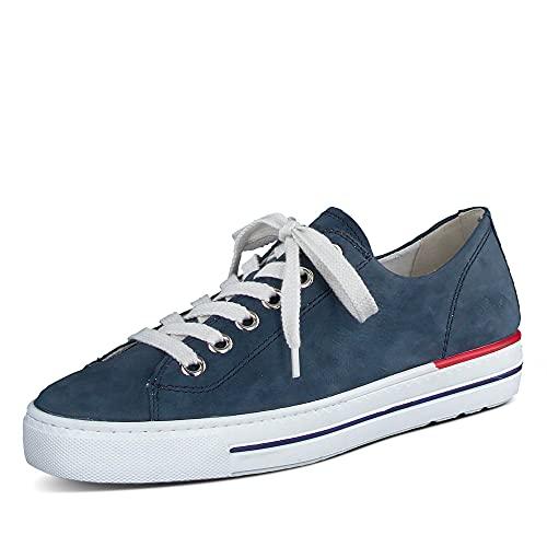 Paul Green 4704-459 Damen Sneaker Nubukleder Plateau Ziernähte weich flexibel, Groesse 41, blau