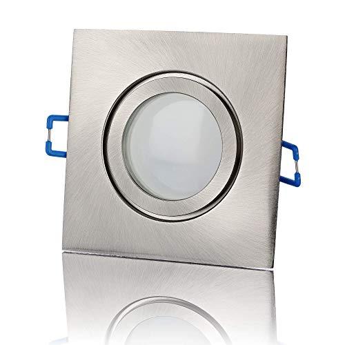 lambado® Premium LED Spots IP44 Flach in Edelstahl gebürstet - Hell & Sparsam inkl. 5W Strahler in neutralweiß dimmbar - Moderne Beleuchtung durch zeitlose Bad-Einbaustrahler/Deckenstrahler für Außen