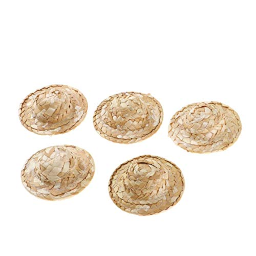 Homyl 5 Stücke Miniatur Strohhut Sonnenhut Puppenzubehör für 1/12 Puppenhaus Dekoration