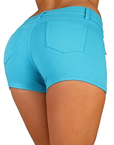 Basic Booty Shorts Premium Stretch French Terry Moleton with a Gentle Butt Lifting Stitching in Turquoise Size L