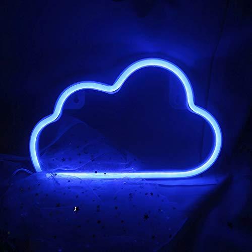 Neon Sign Blaue Wolke LED Schild Schöne Dekoration für Schlafzimmer, Party, Wand, Batteriebetrieben/USB-Netzteil, 30 x 18cm