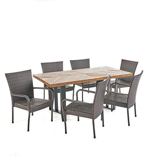 Contemporary Home Living 7-Piece Brown and Black Wicker Outdoor Furniture Patio Dining Set