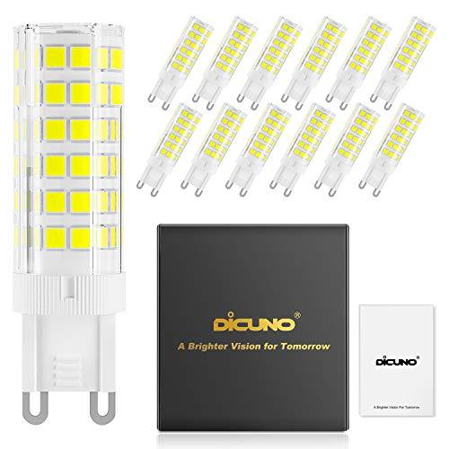 DiCUNO G9 6W Dimmbar LED Lampe, 550LM, Tageslicht Kaltweiß 6000K, 220-240V, Ersatz für 60W Halogen Leuchtmittel, Bi-Pin G9 Sockel, (12er-Pack)