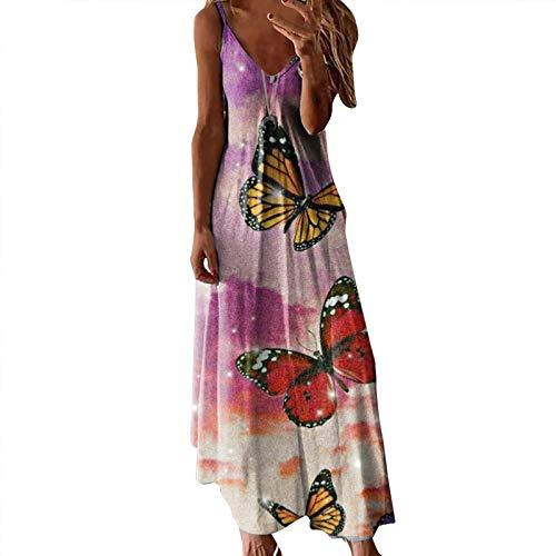 Lalaluka Trägerkleid Damen Kleider langSpaghetti V-Ausschnitt Druck Loose Trägerkleid Blumenkleid Strandkleid MaxiKleid