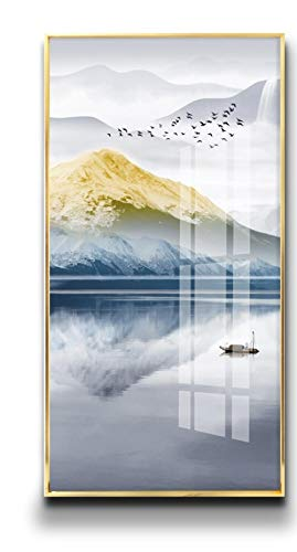 FGHA Entrance Porch Decorative Painting Crystal Porcelain Painting at The end of The Corridor Mural Entry Door Fantasy Hallway Modern Hanging Painting -70x140cm(Crystal Porcelain Painting)