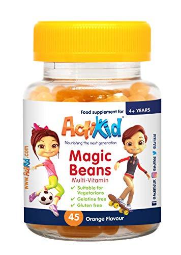 ActiKid Magic Beans Multivitamin 45x Orange Flavour, Gelatine Free, Vitamins for children, Fortalecimiento del sistema inmunológico
