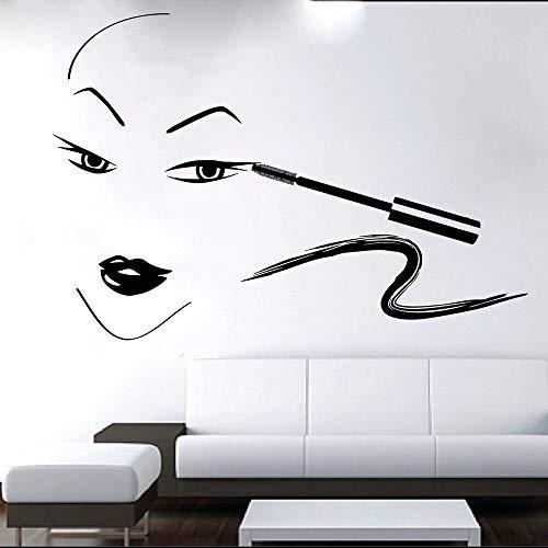 Pestañas Cejas Cejas Cepillo de pestañas Cara Vinilo Etiqueta de la pared Art Deco