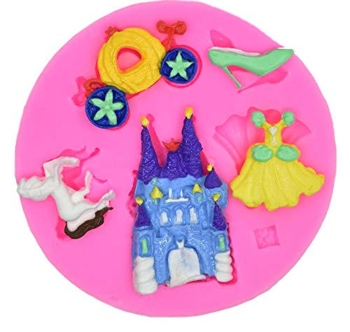 5 Hole Cinderella Set Silicone Fondant Mold Pumpkin Car Cinderella Fairy Tale City Liquid Silicone Mold Fondant Cake Mold