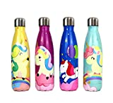 QUNUNOIRE Portatile Borraccia in Acciaio Inox Termica Bottiglia d'Acqua Sportive per Mantenere Caldo e Freddo, Borracce Estate per Bambini Bimbo Rosa