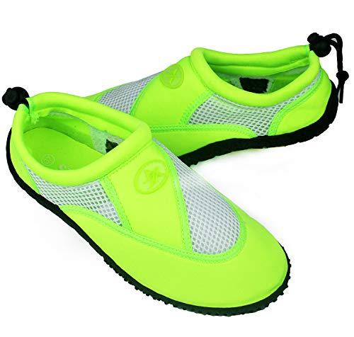 Zapatos de Agua, Zapatillas para Buceo Snorkel Surf Piscina Playa Vela Mar Río Aqua Cycling Deportes Acuáticos, Calzado de Natación Escarpines para Hombre Mujer Unisex (Verde, Numeric_37)