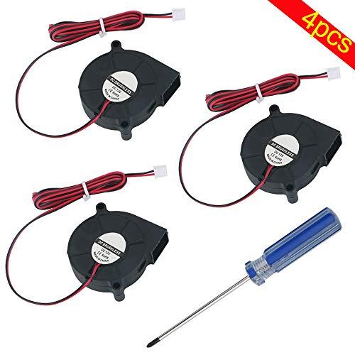 RUNCCI-YUN 3 Pezzi Ventola Stampante 3D 12V, Ventola Senza Spazzole DC, (50 x 50 x 15 mm, nero) Radiatore del Ventilatore a Turbina, Ventola di Raffre