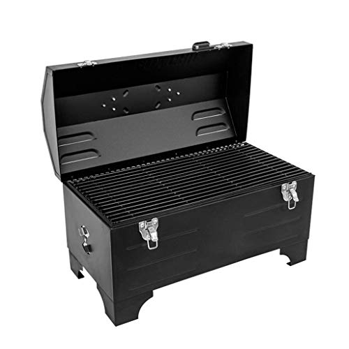 Review SPTAIR Barbecue Grill, Portable Barbecue Grill BBQ Charcoal Grill with Stainless Steel BBQ Wire Mesh Foldable Table Coal Garden Travel Camping Folding Grill (3-5 People,Black)
