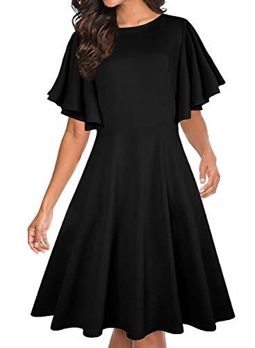 Oten Damen Rundhalsausschnitt A-Linie Swing Skater Casual Cocktail Party Kleid mit Taschen Gr. L, Schwarz