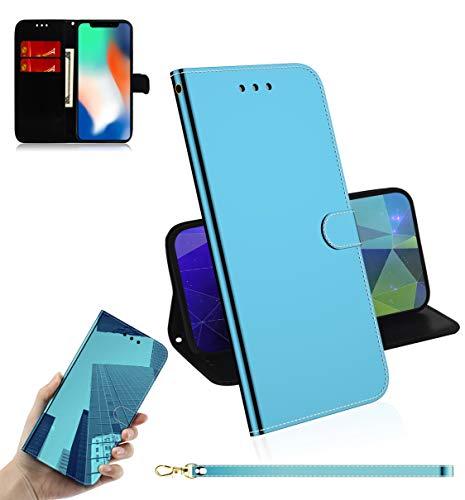 iPhone X/XS Reflektor-Schutzhülle, mit kratzfestem, halbdurchsichtigem Spiegel, Rückseite aus rutschfestem PU-Leder, kompatibel mit Apple iPhone XS, blau