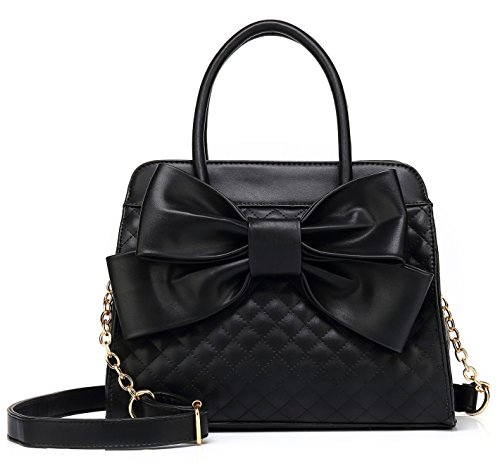 Scarleton Quilted Bow Satchel Handbag for Women, Vegan Leather Crossbody Bag, Shoulder Bag with Removable Adjustable Strap, Tote Purse, Black, H104801