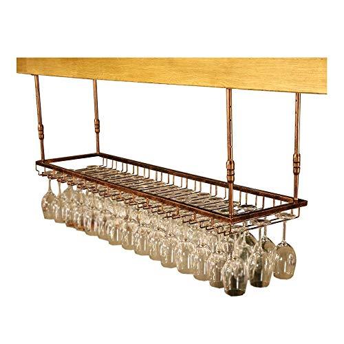 AYHa Weinglas-Rack Weinglas-Rack, verkehrt herum Höhenverstellbar Schmiedeeisen hängenden Weinkelch Rack Bar Weinregal,B,60cm