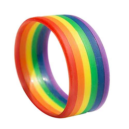 Amosfun Brazalete de Silicona Pulsera de Color Arco Iris Pulsera de Orgullo Gay y Lesbiana Moda Pulsera única, Regalo de cumpleaños de Navidad de Halloween para Amigos