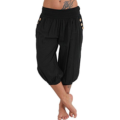 WOCACHI Womens Wide Leg Yoga Pants Elastic Waist Boho Button Pants Baggy Capris Cropped Trousers Calf-Length Pants Summer Casual 2020 New Deals Cotton Blend Solid Loose Workout Thin Plus Size