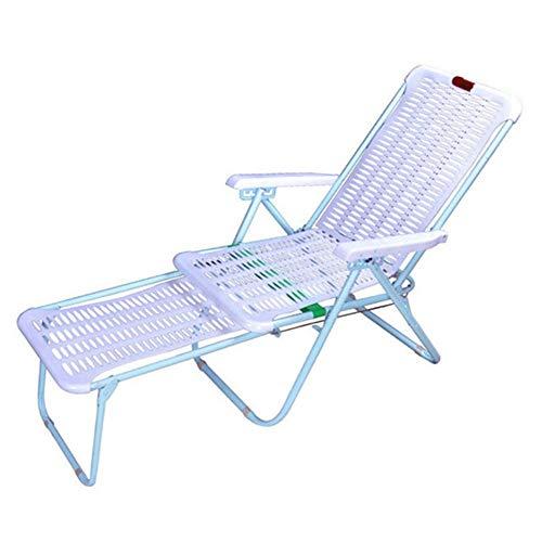 Hamaca Plegable Silla reclinable Plegable de plástico Tumbona Ocio al Aire Libre Playa Home Descanso for Comer Silla de 174x46cm Sillas de jardín Tumbona (Color : As Shown, Size : 174x46cm)