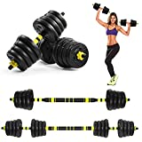 BESPORTBLE Fitness Dumbbells Total 66 LBS Adjustable Dumbbells Free Weights Hand Weights Sets Rubbery Cover, Easy Assembly for Men Women Home Gym Exercise