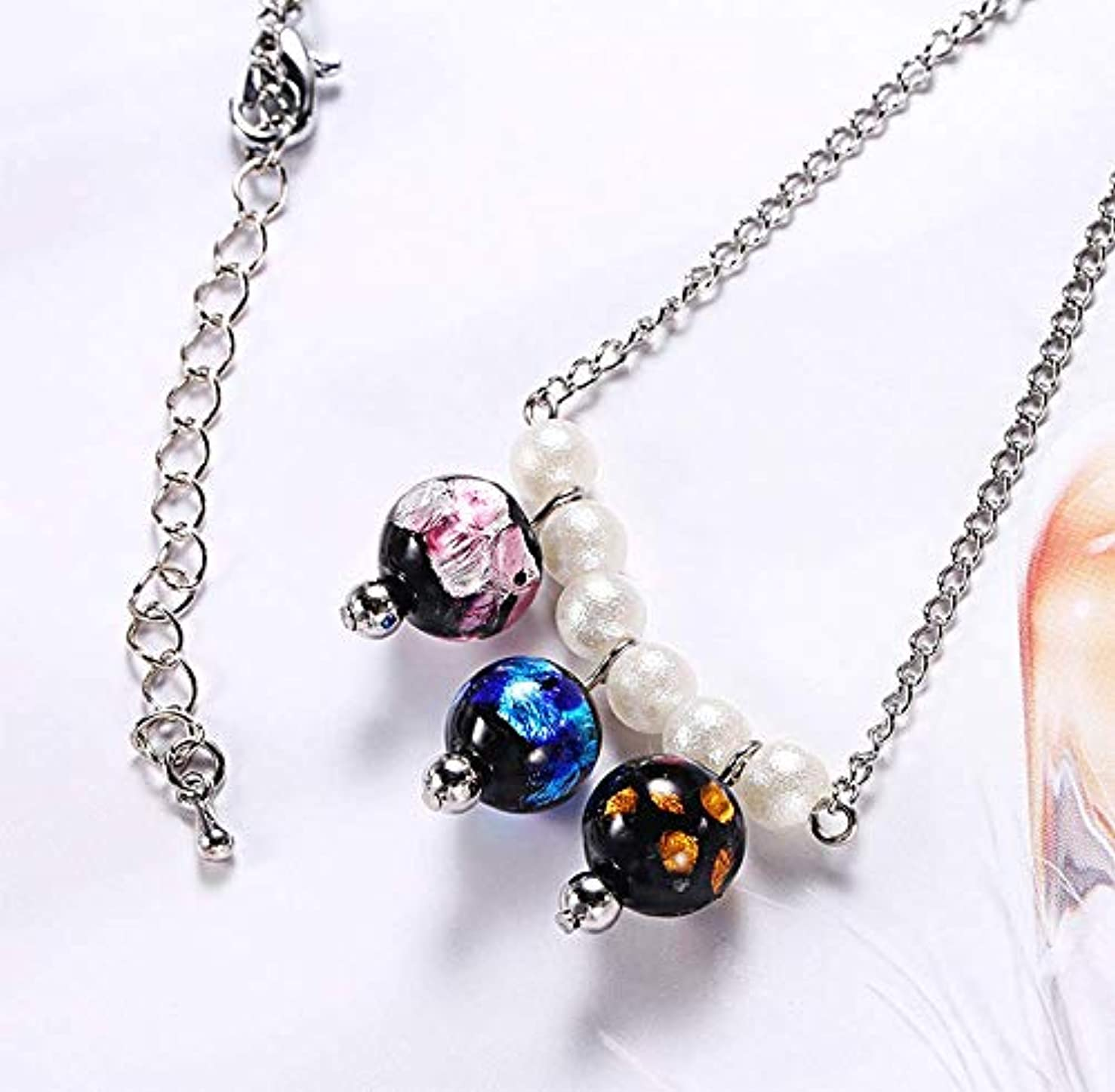 QIANQIAN 6 Pearls Dream Glass Beads Multi-Bead Necklace Pendant Stainless Steel Lobster Buckle Chain Necklace Men Women