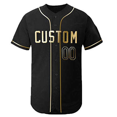 DEHUI Custom Men's Black Flex Baseball Jersey with Embroidered Player Team Name and Your Numbers,Golden Edition Size L