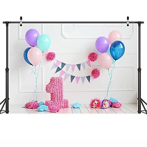 Fondo de Retrato de cumpleaños de bebé, Accesorios de fotografía de Globo, fotografía de Estudio, Fondo de fotografía A8 9x6ft / 2,7x1,8 m