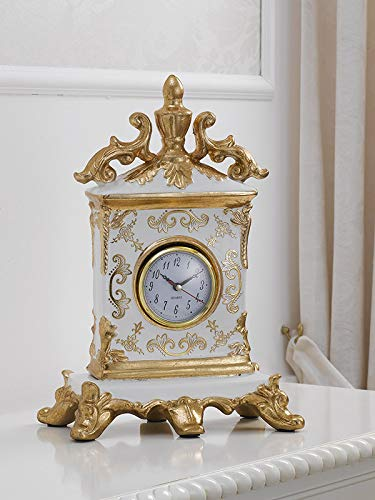 Simone Guarracino Horloge de Table Charles décor Fleuri Queen Ivoire et Feuille Or