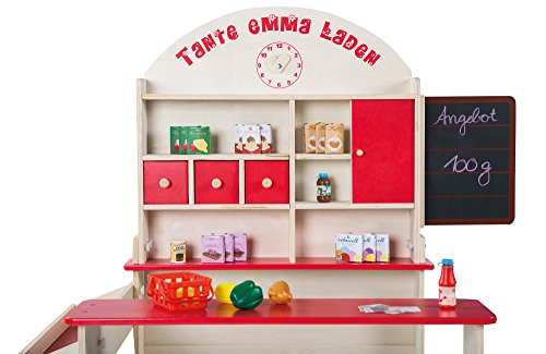 Roba Wooden Play-Shop with Sales Counter, Front Storage and Blackboard, 3 Wooden Drawers, Laminated Wood and MDF, Painted, 103x75x113 cm (LxWxH), 1 Sliding Door, Side Counter and Clock (92802)