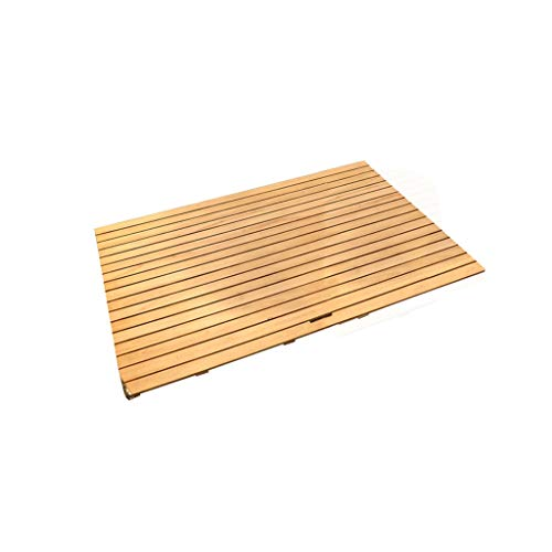 Best Review Of Bathroom Rugs and Mats Sets Shower Mats Solid Wood Rectangular Non Slip Wooden Bathro...