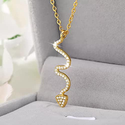 N/A Colgante de Collar de Mujer Tendencia Animal Colgante Collar con Colgante de Serpiente para Mujeres Estilo Minimalista Collares de circón joyería de cumpleaños Femenina Bijoux Regalo