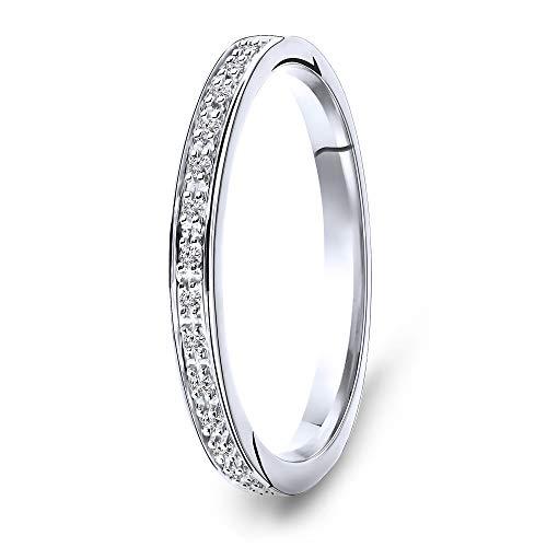 Miore anillo de eternidad para mujer en oro blanco de 9 kt 375 con diamantes de 0,05 quilates